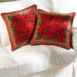 2 poinsettia cushion covers