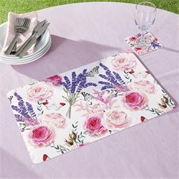 4 sets table + 4 sous verres roses et lavande