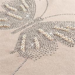 Pullover Schmetterling Strasssteine & Perlen wollweiß - Größe M