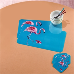6 sets de table + 6 sous verre Flamants roses