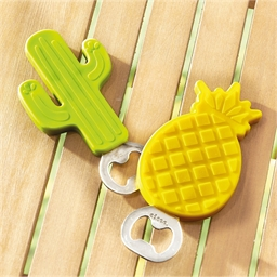 2 tropical pineapple/cactus bottle openers