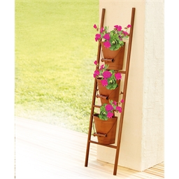 Copper coloured ladder planter