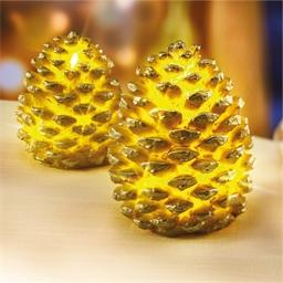2 pommes de pin dorées