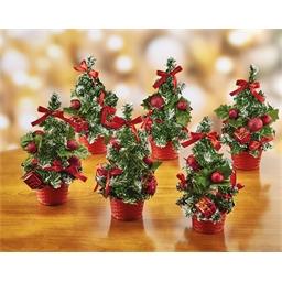 6 mini sapins rouges