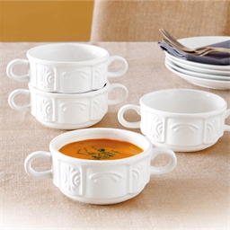 4 white bowls with handles