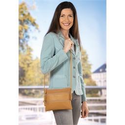 Handtasche mit mehreren Reißverschlüssen, beige