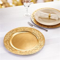 Lot de 2 dessous d'assiettes dorés
