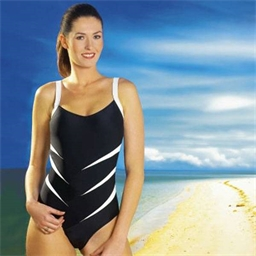 """Slimming"" Swimsuit Blue geometric pattern"