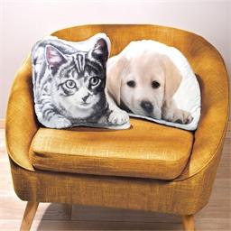 Kussen grijsgestreepte kat of labrador of Set van 2
