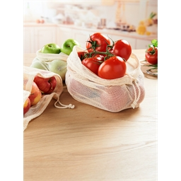Set of 3 cotton fruit/vegetable nets