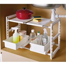 Verstellbarer Waschbecken-Unterschrank 2 Schubladen