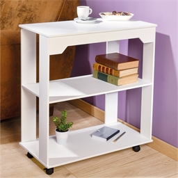 White console table on casters