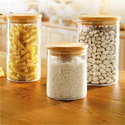 3 borosilicate and bamboo jars