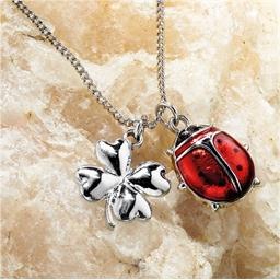 Ladybird and clover pendant