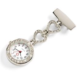 Brosche mit Uhr Silberfarben