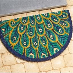 Semicircular peacock rug