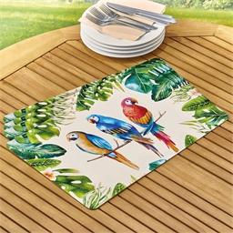 4 placemats met papegaaien