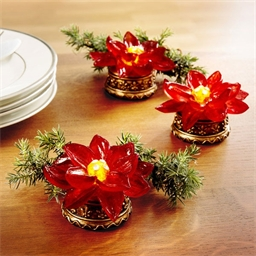 Lot de 3 poinsettias LED