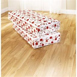 Twee hoezen met roosjes voor onder het bed