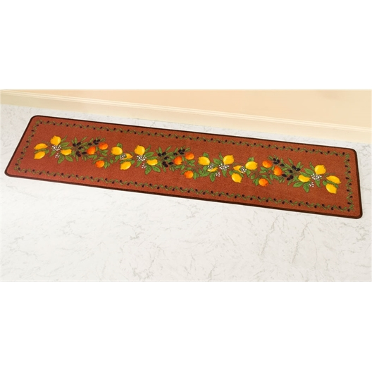 Lemon motif brick red rug