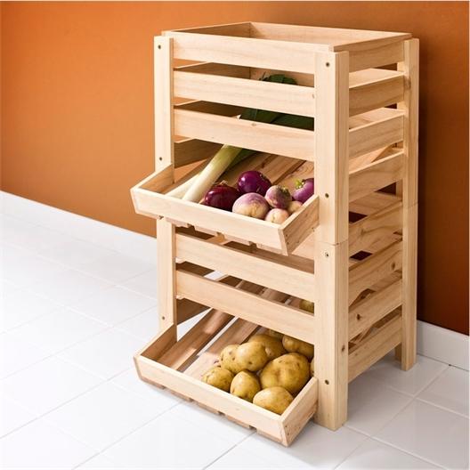 Set 2 Gemüseregale Holz