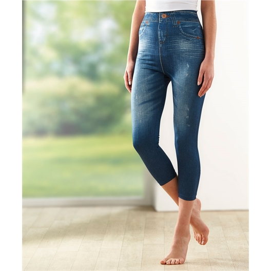 2 pairs of capri pants + stretch jeans : Set of 4