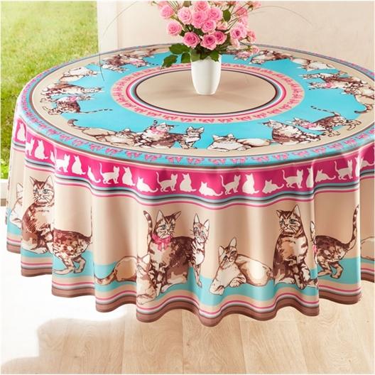 Circle of cats tablecloth : Rectangular (150 x 240 cm) or Circular (Diam. 180 cm)