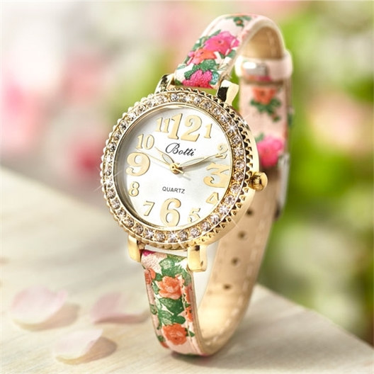 Large number floral watch