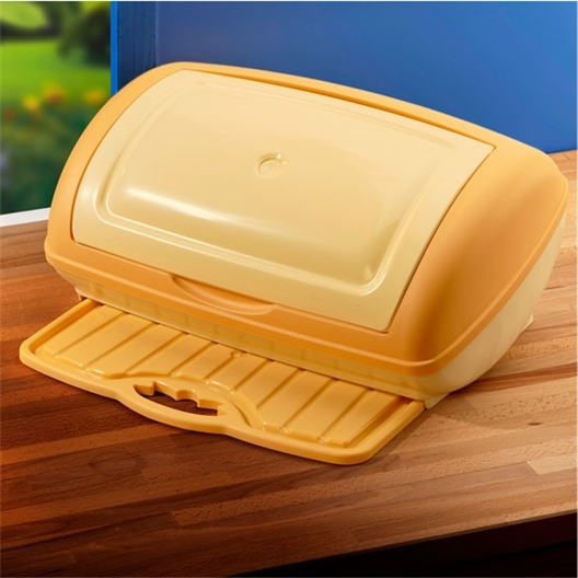 Yellow bread bin with board