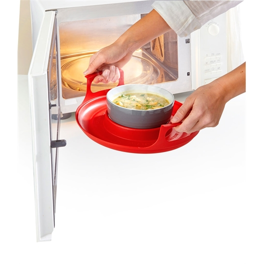 Red microwave bowl holder