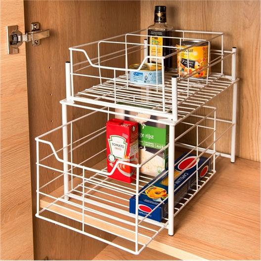 2 drawer under sink shelves : Black or White