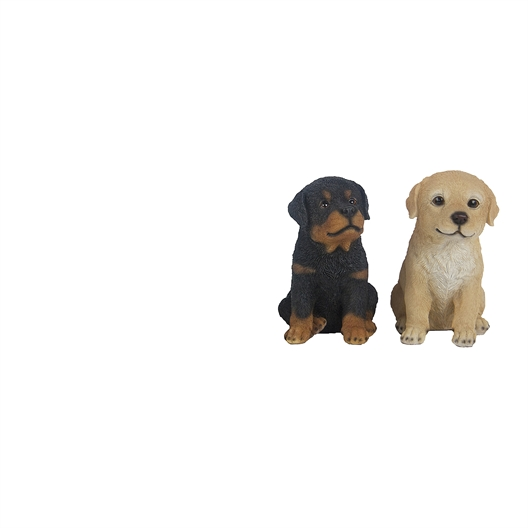 Playing cat figurine or Set of 2 seated puppy figurines