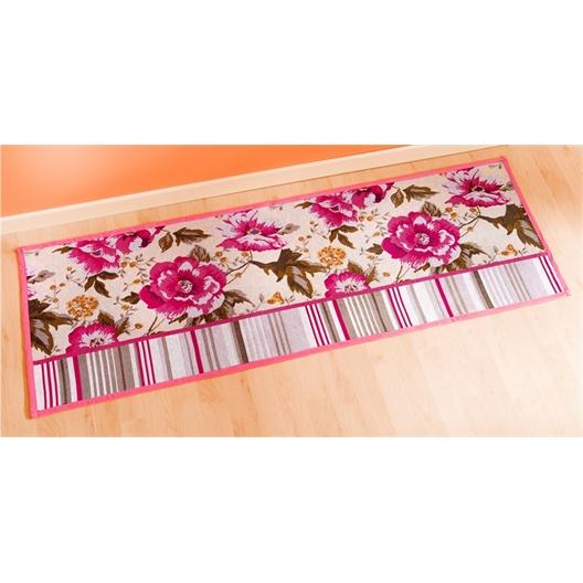 Tapijt met rozen en lijnen 48 x 200 cm