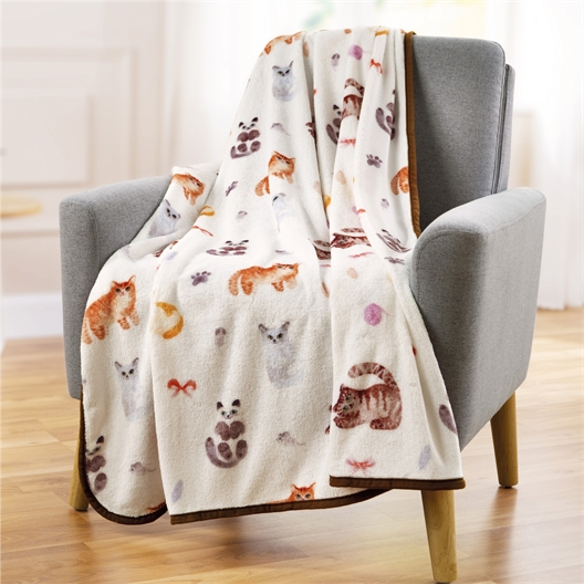 Ultra soft cat or dog pattern throw