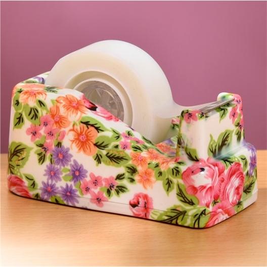 Abroller mit Blumen / 2 Rollen transparentes Klebeband Tesa®