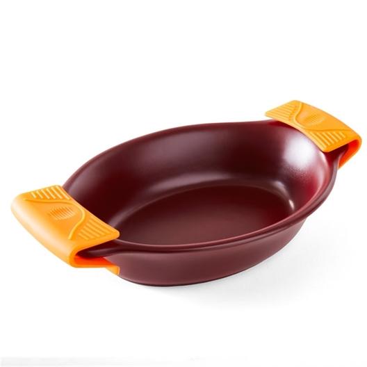 Orange silicone casserole grips