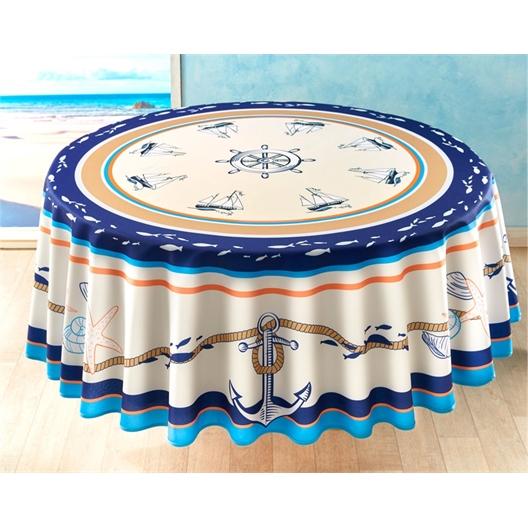 Sea and shellfish tablecloth Circular