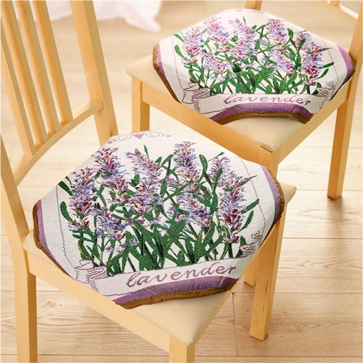 2 of 4 stoelkussens met lavendelprint