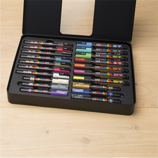 Koffertje met 20 Posca®-viltstiften