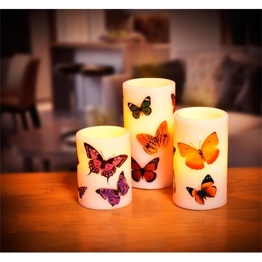 3 bougies LED papillons