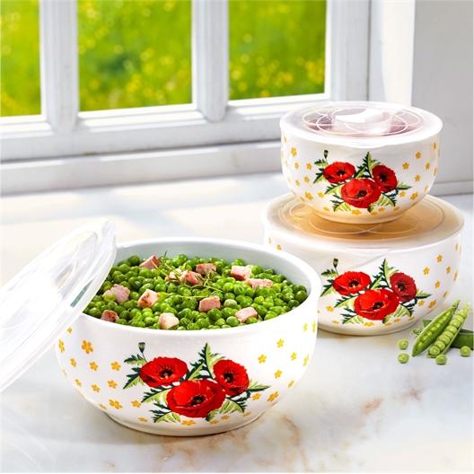 3 Salatschüsseln/Schälchen Mohnblumen