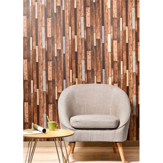 Self-adhesive wallpaper Brick motif or Wood motif