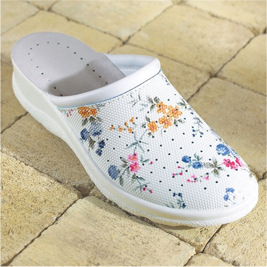 Flowered clogs white or blue