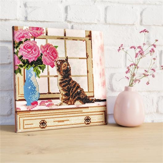 Pre-framed stick-on bead kit Kitten