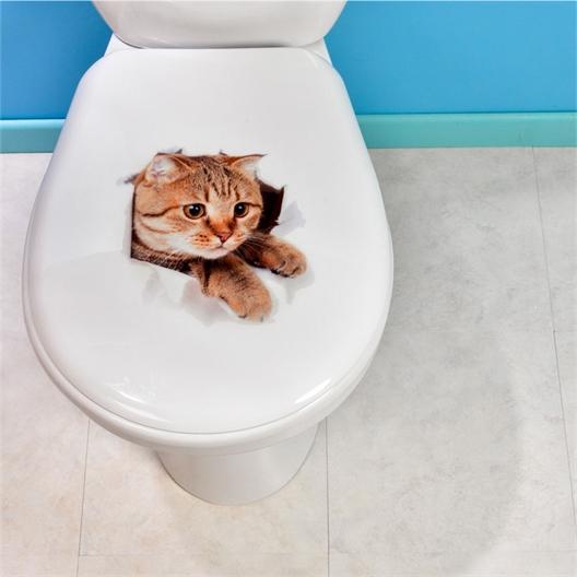 Set mit 2 WC-Aufklebern Katze und Hund