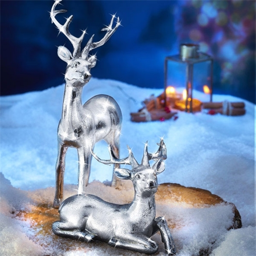 Silvery reindeer lying, standing or Set of 2