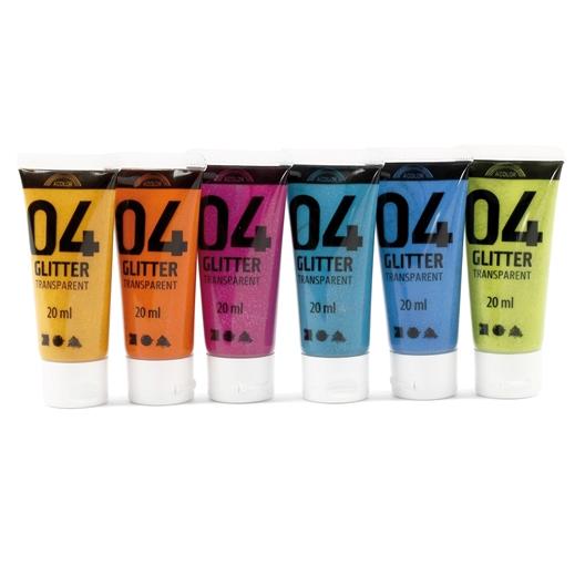 Coffret de 6 tubes de peinture à paillettes