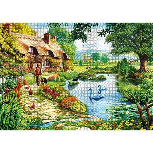 Puzzle 1000 pièces Cottage au bord du lac