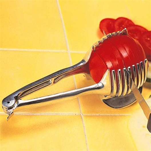 Tomato slicing tongs