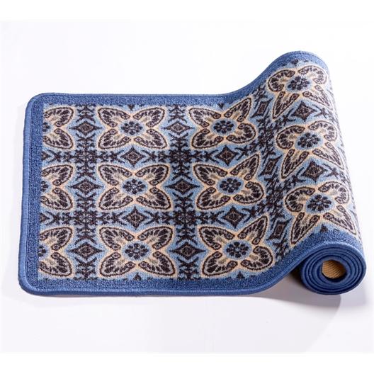 Blauw mat met cementtegelmotief 50 x 80 cm